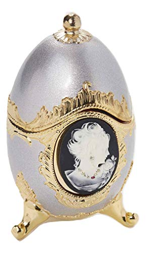 Sparkling Black and Platinum Cameo Egg Shaped Musical Jewelry Box with Crystallized Swarovski Elements playing All I Ask Of You -
