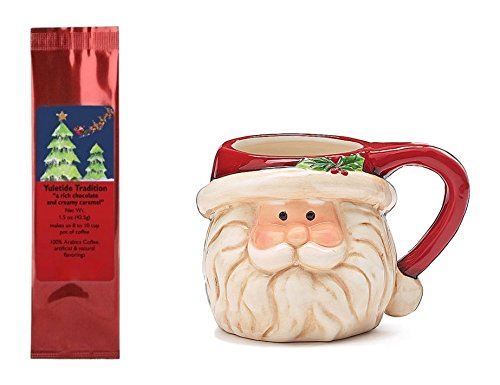 Hand Painted Santa Mug with Yuletide Sleigh and Reindeer Coffee Bundle Gift Set (2 Items)