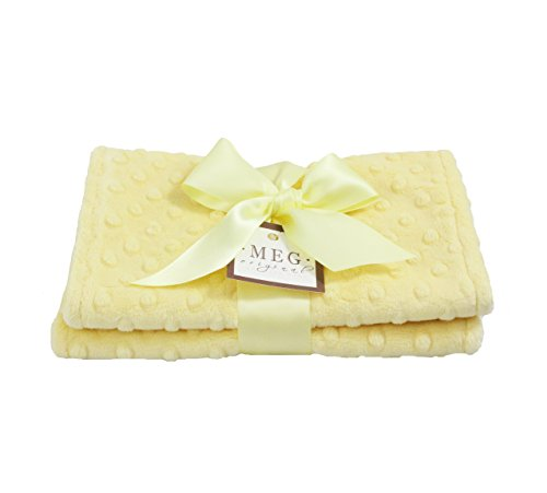 Bibs Chenille Baby Boutique - MEG Original Minky Dot Burp Cloths, Set of Two, Yellow/Yellow