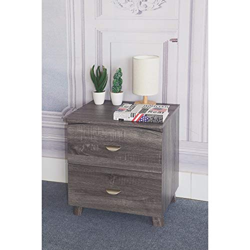 Benzara Contemporary Style Grey Finish Nightstand with 2 Drawers On Metal Glides Night Stand from Benzara