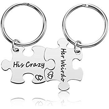 Couple Gifts for Boyfriend and Girlfriend - His Crazy Her Weirdo Couple Keychain for Him and  sc 1 st  Amazon.com & Amazon.com : Couple Gifts for Boyfriend and Girlfriend - His Crazy ...
