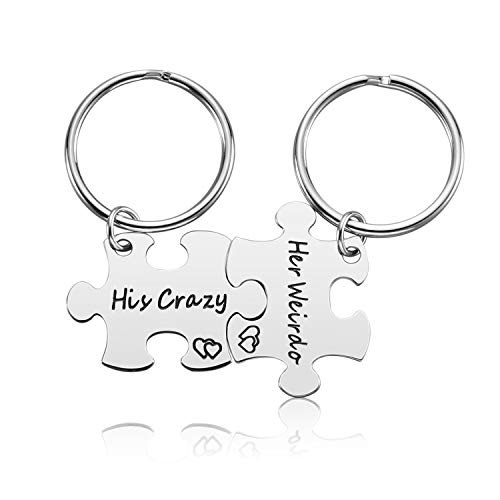 Couple Gifts for Boyfriend and Girlfriend - His Crazy Her Weirdo Couple Keychain for Him and Her, His and Her Keychain Valentine's Day Gift for Boyfriend Girlfriend Husband Wife (His-Her)
