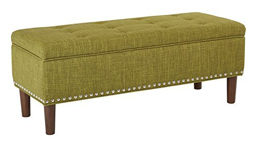 AVE SIX Bryant Mid-Century Modern Vinyl Bench with Nailhead Accents, Green