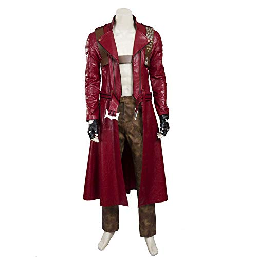 COSSHOW Men's Devil May Cry 3 Dante Cosplay Costume Leather Outfit (L) (Devil May Cry 2 Dante Costume)