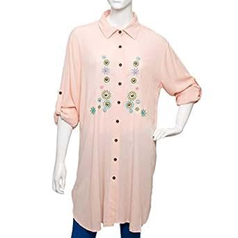SVUP Orange Mixed Shirt Neck Shirts For Women