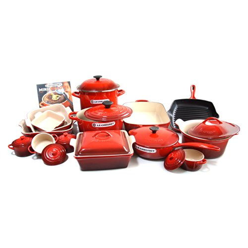 Le Creuset Signature Cerise Cherry Enameled Cast Iron 24 Piece Cookware Set