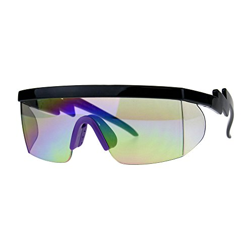 Flat Top Crooked Bolt Arm Goggle Style Color Mirror Shield 80s Sunglasses Black Purple