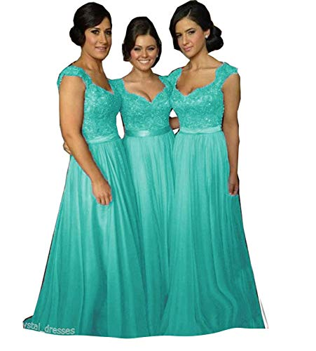 Fanciest Women' Cap Sleeve Lace Bridesmaid Dresses Long Wedding Party Gowns Turquoise US8]()