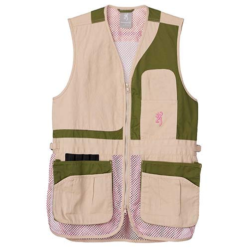 Browning, Women's Trapper Creek Mesh Shooting Vest, Sage/Tan/Pink, Medium, Right - Vest Down Shooting