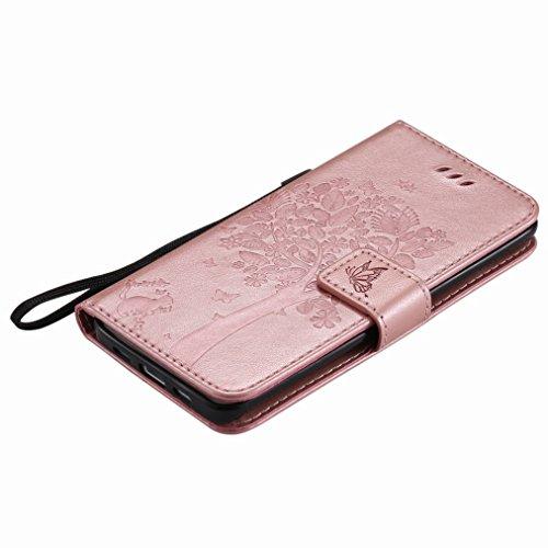 Yiizy Xiaomi Mi 5 Custodia Cover, Albero e Gatti Goffratura Design Sottile Flip Portafoglio PU Pelle Cuoio Copertura Shell Case Slot Schede Cavalletto Stile Libro Bumper Protettivo Borsa (Oro Rosa)