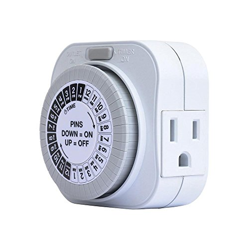 24 Hour Daily Timer with 1 Grounded Outlet, Hydroponics, Lamps, Appliances - 15 Amp