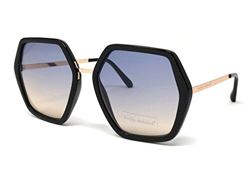 Loose Leaf Eyewear Women's Kathy Ireland Geometric Sunglasses, Black and Rose (Geometric Leaf)