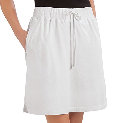 Women White Collection (Collections Etc Women's Drawstring Knit Pull-on Skort with Elastic Waist, White, Large)