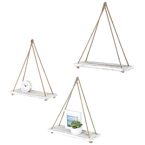 (MyGift Rustic 17-inch Whitewashed Wood Hanging Rope Swing Shelves, Set of 3)