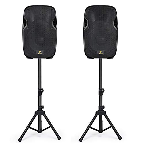 AKUSTIK Dual 15 Inch 2-Way Powered PA Speaker System, 2000W Portable DJ Speaker with Active + Passive Speakers, 2 Speaker Stands, Microphone, Bluetooth, USB/SD Card, FM Radio, Remote Control, Karaoke (15 Dj Active Speakers)