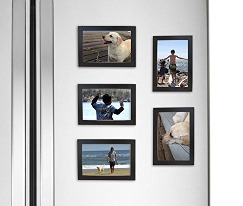 Fridgepic Wood Magnetic Photo Picture Frames, Black - Set of 5 (4x6)