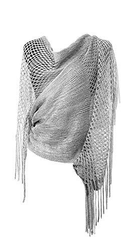 - MissShorthair Womens Wedding Evening Wrap Shawl Glitter Metallic Prom Party Scarf with Fringe (Silver Grey)