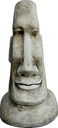 DEGARDEN AnaParra Figura Decorativa Cabeza de Pascua Moai de hormigón-Piedra para jardín o Exterior 40cm.: Amazon.es: Jardín