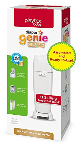 Large Product Image of Playtex Diaper Genie Complete Assembled Diaper Pail with Odor Lock Technology & 1 Full Size Refill, White (1 Pail and 1 Refill per Unit)