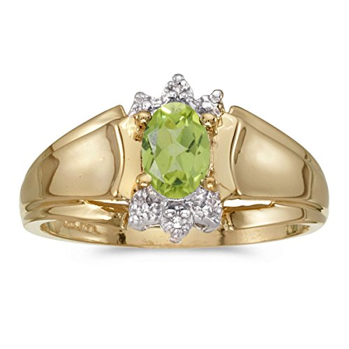 FB Jewels 14k Yellow Gold Genuine Green Birthstone Solitaire Oval Peridot And Diamond Wedding Engagement Statement Ring - Size 7.5 (2/5 Cttw.) ()