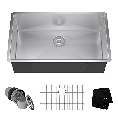 Kraus KHU100-32 32-inch 16 Gauge Undermount Single Bowl Stainless Steel Kitchen Sink (Large Single Kitchen Sink)