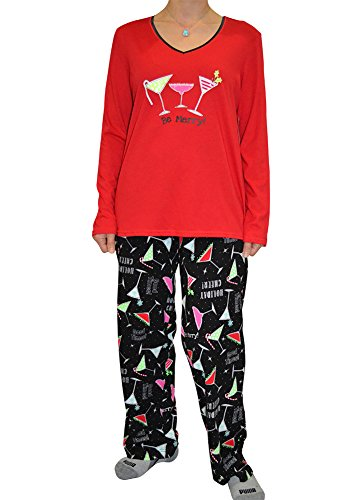 Alfa Global Women's Short and Long Sleeve Pajama Sets with Pj Pants (3X, BeMerry/Red)