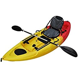 Brooklyn Kayak Company BKC UH-FK285 9.5 Foot Sit on Top Single Fishing Kayak with Upright Seat and Paddle Included RED/Yellow
