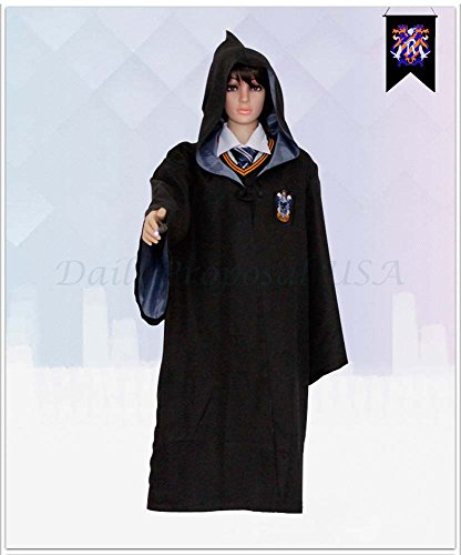 [HP1 Adult Harry Potter Robe ALL 4 HOUSES XXS-XXL Halloween Costume USA (2XL, Ravenclaw Blue)] (Harry Potter Halloween Costumes Hermione)