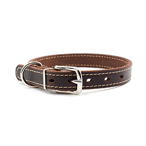 Sha.Tang Basic Classic Soft Genuine Leather Pet Collars for Puppy Dog Small Medium Dogs-S