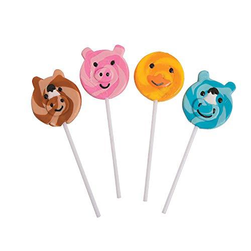 Fun Express - Farm Animals Swirl Pops - Edibles - Sucker & Pop - Swirl & Twist Pops - 12 Pieces