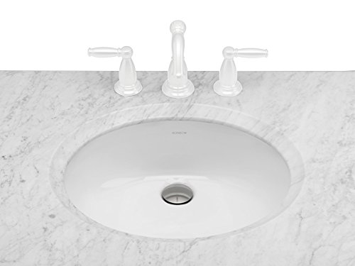 RONBOW Oval Ceramic Undermount Bathroom Vanity Sink in White 200513-WH - Ronbow Oval Ceramic