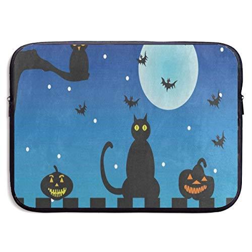 Funny Design Halloween Night Cat Owl Pumpkin Laptop Sleeve Waterproof Neoprene Diving Fabric Protective Briefcase Laptop Bag for IPad, Notebook/Ultrabook/Acer/Asus/Dell ()
