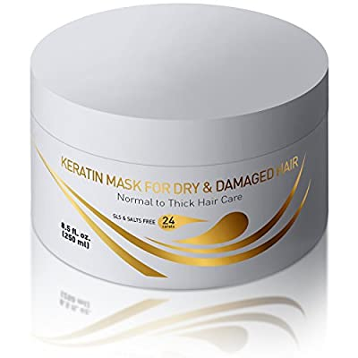 Keratin Dry & Damaged Deep Conditioner Mask - Thick Coarse Hair Care - Keratin Protein & Argan Oil Complex - Long Lasting Conditioning Repair