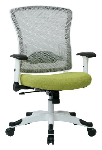 SPACE Seating Breathable Mesh Back and Padded Mesh Seat, Adjustable Arms, Tilt Tension and Lumbar Support with White Coated Nylon Frame Managers Chair, Olive Yellow