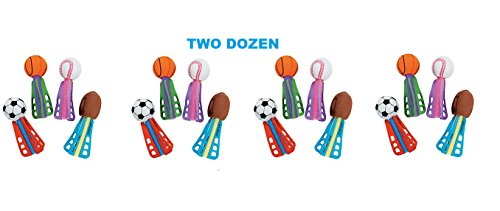 (24) Mini Sports Ball Missles ~ Foam Party Favors ~ Colorful ~ Sports Fan ~ Birthday Sports Themed Bashes ~ Team coach Prize ~ Giveaway ~ Easter Basket ~ Soccer Football Baseball Basketball (Foam Mini Play Ball)