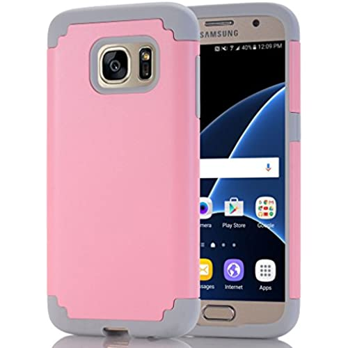 Galaxy S7 Edge Case, HOcase Cool Color Series, Dual Layer Hard Plastic and Silicone Bumper Impact Resistant Protective Case Cover for Galaxy S7 Edge - Light Pink / Grey Sales