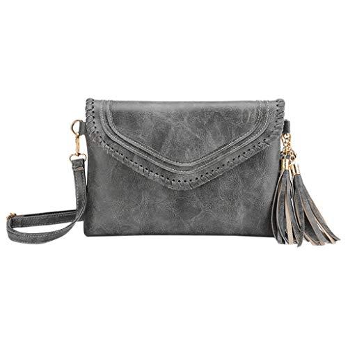 Women's Small Shoulder Bags,YuhooSUN Hasp Solid Color Tassel Messenger Bag Crossbody Bag Cell Phone Purse Wallet Dark Gray