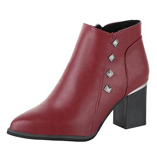 Martin Toe Heel Pointed Burgundy Women's Block Boots Zip Rivet Binying qI0Evw