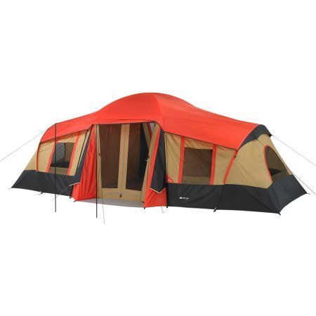 10 Person Vacation Tent with Built-in Mud Mat and 3-Room in Red/Brown/Black