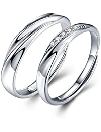 Mens Womens Endless love Silver rings Adjustable Ring Cubic Zirconia Wedding Ring Promise Ring Couples Ring