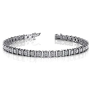 14K White Gold Diamond Illusion Round Brilliant Prong Set Tennis Bracelet (1.56ctw.) - Size 7.25