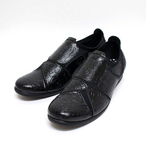 ストレッチシューズ レディース コンフォートシューズ 履きやすい 外反母趾 靴 花柄型押し SC1824 ブラック