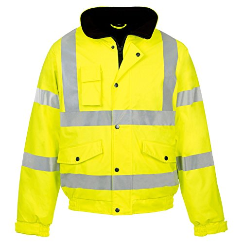 Forever Mens Rainsuit Hi Viz Waterproof Storm Jacket Workwear Security Coat (Reflective Coat Jacket)