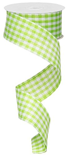 Lime Green White Gingham Check Wired Ribbon (1.5 Inch x 10 Yards) : RG01048RY ()