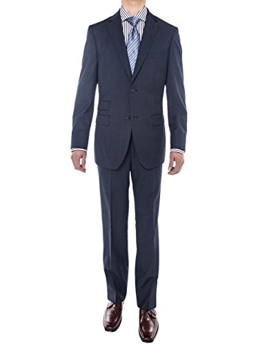 Luciano Natazzi Men's Bird's Eye 160'S Wool Suit Two Button Side Vent Jacket (38 Regular US / 48R EU / W 32