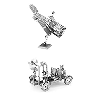 Set of 2 Metal Earth 3D Laser Cut Models: Hubble Telescope & Apollo Lunar Rover
