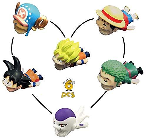 5StarPrime Cable Bites Cable Buddies 6 pcs Goku + Super Saiyan Goku + Freeza + Zoro Bragon Ball Z + Monkey D. Luffy + Tony Tony Chopper