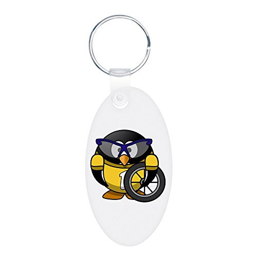 Aluminum Oval Keychain (2-Sided) Little Round Penguin - Cyclist in Yellow Jersey