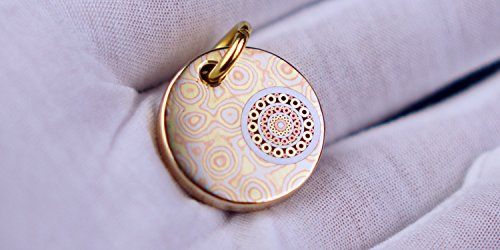 Mosaic Pendant Collection - FREELOVE Handmade Luxury Collection EDC Toy/Key Tag/Pet Tag/Car Pendant,Damascus Steel/Copper,Mosaic Rivets Decoration (Damascus Copper Lattice)