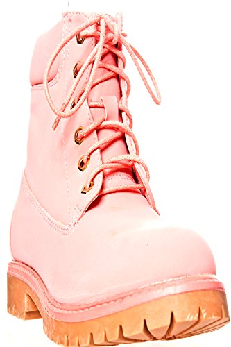 Golden Asia FAUX LEATHER MATERIAL QUILTED DESIGN STITCHING LACE DESIGN CASUAL BOOTS Pink-denver-18 VNDXHHQ